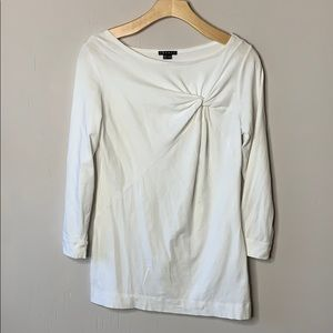 Theory Long Sleeve White Cotton Gathered Top